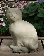 Katze Hauskatze sitzend Steinfigur Steinguss Skulptur Garten Outdoor NEU