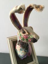 Unique Artisan Handmade Hare Wall Sculpture unusual patchwork rose tweed fabric