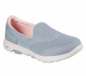 Skechers Womens Go Walk 5 Ocean Sparkle Slip On Walking Shoe Grey Pink
