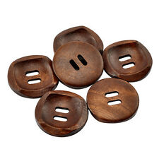 25 Dark Wood Buttons - BROWN - 30 mm - Scrapbooking - Crafting - Sewing - UK