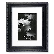 Set of 6 - 5x7 Ornate Black Photo Frames, Glass, Warm White Mats for 3.5x5.