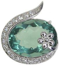 Fluorite Gemstone Flower Sterling Silver Pendant + Chain