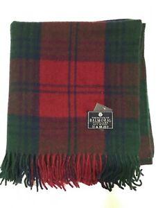 House of Balmoral Green Lindsay Wool Scottish Blanket Tartan Large Throw Rug