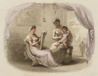 Künstlerin zeichnet ein Kind, Antikisierendes Familienbild, 1812, Punktierstich