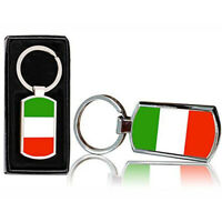 Italy Country Flag Printed Chrome Metal Keyring With Free Gift Box 0083