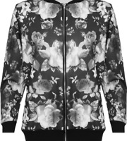 Womens Plus Size Floral Print Varsity Black White Rose Pattern Zip Bomber Jacket