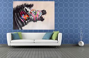 ZEBRA rainbow Art Painting print canvas pop modern Australia