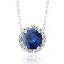 """925 Silver 2.25ct Created Blue Sapphire & CZ Round Slide Necklace, 18"""""""