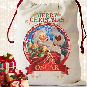 Personalised Santa Sack Father Christmas Bag Present Xmas Stocking Gift Boy Girl