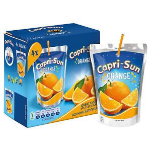 Capri-Sun Orange Pouches (4 x 200ml). Suitable for Vegetarians / Vegans.