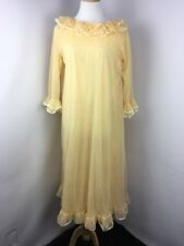 Vtg 60s Woth Yellow Lace Ruffle Babydoll Sweep Lingerie Nightgown Wedding S