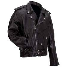 Men's Genuine Leather Classic Black Motorcycle Biker Jacket Coat