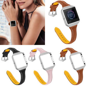 Leather Wristband Strap with Metal Frame for Fitbit Blaze Smart Watch 5.5-8.0in
