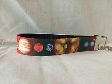 "Planet Solar System Key Fob Wristlet Key Chain 1"" Wide with Ribbon"