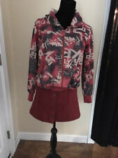 Abstract Red, White and Black Design Women's Hoodie Jacket Jinsho Brand, Size M