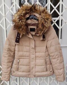 GORGEOUS ZARA FUR HOOD BELT BUCKLE COLLAR DOWN JACKET COAT BEIGE SIZE S 8- 10