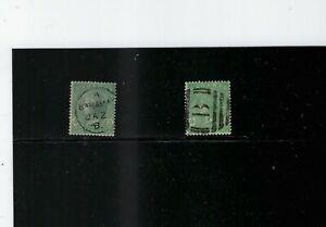 Bahamas 1880 1sh Sc #19, P.14 wmk 1, 1898 1sh Sc #23, P.14 wmk 2; SG #39, SG #44