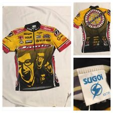 Vtg 1990s JAMIS Bicycle Racing Team Jersey Womens XS Yellow Red Bright Cycling