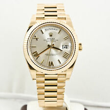 Unused Rolex Mens 40mm 18k Gold Day Date 228238 Silver Roman Dial & Fluted Bezel