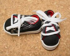 DOLL Shoes 63mm BLACK Sneakers by Monique Gold (with red accent lining)