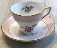 ROSINA Bone China England Pink Flowers TEA CUP AND SAUCER Set PERFECT Gold Trim