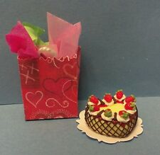 Dollhouse Miniature Heart Berry Custard Cake by Bright deLights & gift bag 1:12