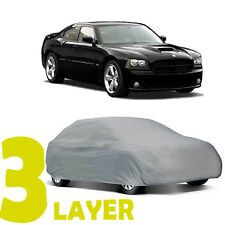 TRUE 3 LAYERS GRAY FITTED CAR COVER OUTDOOR WATER RESISTANT for DODGE CHARGER