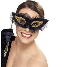Masquerade sfera Costume Occhi Maschera Viso Maschera Occhi meticolosamente Nero Da Smiffys.