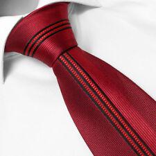 Cravate Marque Française Pure SOIE Rouge Rayée French Brand Silk Tie Necktie Red