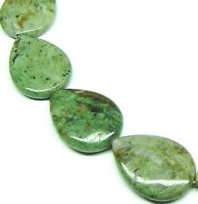 6 LARGE NATURAL Green Opal Flat Teardrop Pear Beads 22x30 K3523