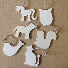 Wooden Animal Hanging Decoration Craft Embellishments 6 Hanging Shape Tags Blank