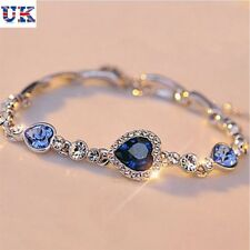Mujeres Azul Océano Cristal Rhinestone Corazón Bangle Bracelet Regalo Nuevo Moda