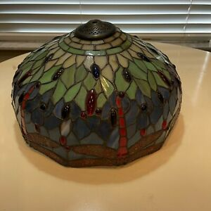 Dragonfly Sea Blue Stained Glass Inverted Ceiling Tiffany Lamp Shade