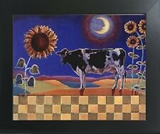 Country Cow and Sunflowers Floral Cow Bathroom Wall Decor Art Framed Picture