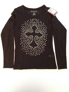 Girls New Black Sequin Roper Sheer Long Sleeve T-Shirt Top - Size S 6-6X