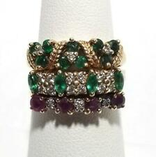 Vintage 14K Solid Gold Emerald Ruby Diamond Band Ring Sz 6.25 Custom Made 3 Band
