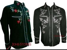 RELCO BLACK RED COWBOY SHIRT, ROCKABILLY WESTERN STYLE, EMBROIDERED - Sm-XXXL
