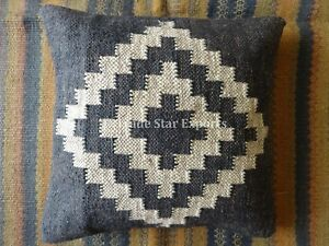 Vintage Kilim Jute Cushion Cover 18x18 Handwoven Rug Square Throw Pillow Cases