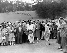 BEN HOGAN GOLFING GREAT TEES OFF AS CROWD WATCHES IN THIS GREAT 8x10 PHOTO 1
