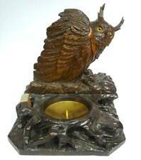 Raucherset Eule Uhu Schwarzwald um 1850  Kerzenständer