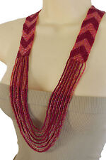 Women Fashion Jewelry Long Check Red Pink Beads Necklace Bohemian Multi Strands