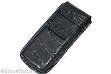 SINGLE BLACK CROC LEATHER ONE WATCH PEN SPECTACLES TRAVEL POUCH STORAGE CASE BOX
