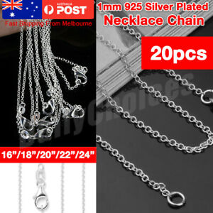 """925 Silver Plated 1MM Classic Plated Necklace Chain Wholesale Bulk Price 16""""-24"""""""