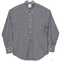Billy Reid Mens Button Down Shirt Size XL Blue Black White Gingham Standard Cut