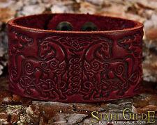 Handmade Leather Bracelet Cuff Wristband Horses Celtic Knotwork Amulet burgundy