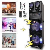 "Dual 10"" Bluetooth Portable Speaker Subwoofer Pro DJ Audio PA System Karaoke LED"