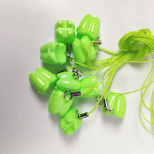 50pcs Dental Milk Teeth Holder Boxes Plastic Necklace Tooth Shaped Kids Green