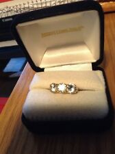 WHITE ZIRCON 4.50CTW - 10K YELLOW GOLD 3-STONE RING - SIZE 8-Reduced