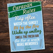 Caravan Rules Hanging Plaque Holiday Novelty Birthday Friendship Campervan Gifts