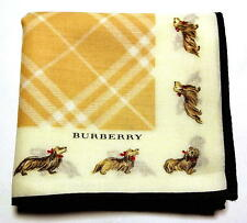 BURBERRY handkerchief scarf Beige Check Dog Cotton Auth New Collectible RARE